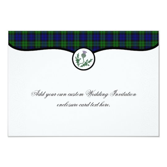 Black Watch Tartan and Thistle Wedding Enclosure Card