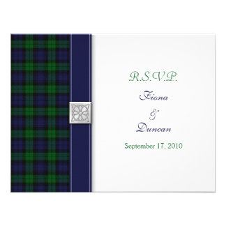 Black Watch Tartan Celtic Response Card Personalized Invitations