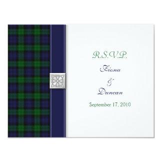 Black Watch Tartan Celtic Response Card Personalized Invitations