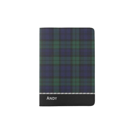 Black Watch Tartan Plaid Custom Passport Holder