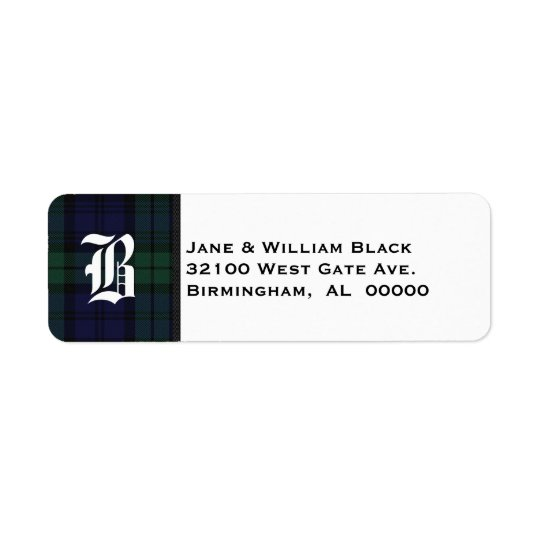 Black Watch Tartan Plaid Monogram Address Labels