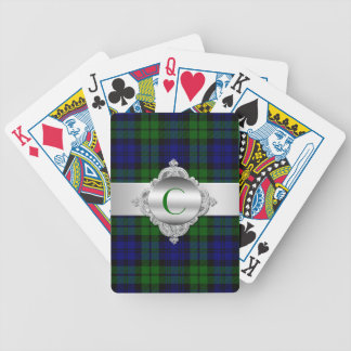 Black Watch Tartan Plaid Monogram Playing Cards