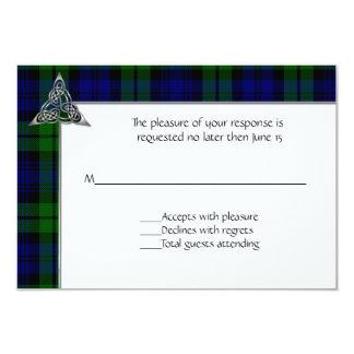 Black Watch Tartan Plaid Wedding 9 Cm X 13 Cm Invitation Card