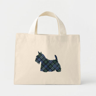 Black Watch Tartan Scottish Terrier Canvas Bags