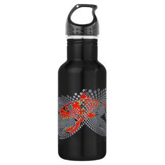 Black water bottle modern design angry fish bubble