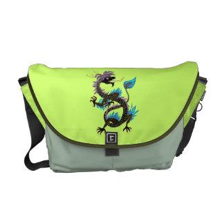 Black Water Dragon Picture Rickshaw Messenger Bag