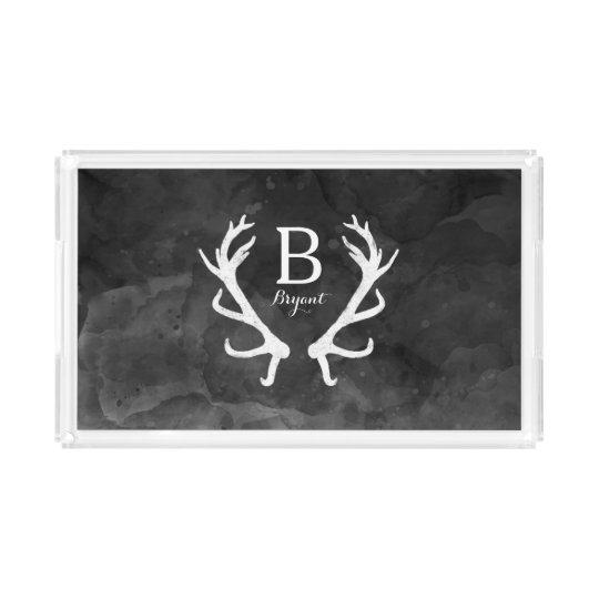 Black Watercolor and Rustic Deer Antlers Monogram Acrylic