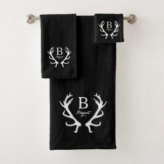 Black Watercolor and Rustic Deer Antlers Monogram Bath Towel Set
