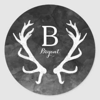Black Watercolor and Rustic Deer Antlers Monogram Classic Round Sticker