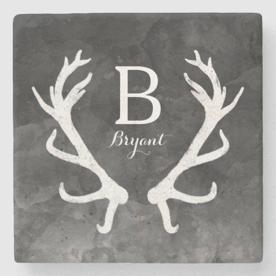 Black Watercolor and Rustic Deer Antlers Monogram Stone