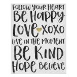 Black Watercolor Inspirational Words Gold Heart Poster