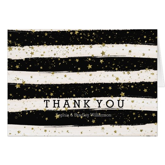 Black Watercolor Stripes Gold Stars Thank You Card