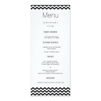Black Wave Chevron Wedding Dinner Menu Cards 10 Cm X 24 Cm Invitation Card