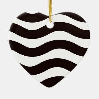 Black Wavy Stripes Christmas Ornament