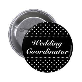 Black wedding coordinator pinback buttons