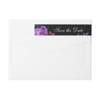 Black wedding Purple save the date Return address Wrap Around Label