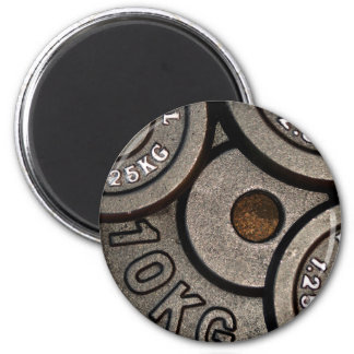 Black Weight Plates - Weightlifting Print 6 Cm Round Magnet
