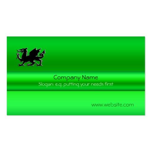 Black Welsh Dragon on green metallic-look Business Card Template