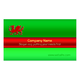 Black Welsh Dragon on green metallic-look Pack Of Standard Business Cards
