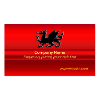 Black Welsh Dragon on red metallic-look Pack Of Standard Business Cards