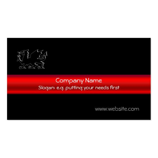 Black Welsh Dragon, red chrome-look strip on black Business Card Template