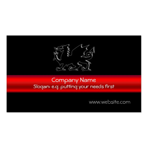 Black Welsh Dragon with red metallic-look stripe Business Cards