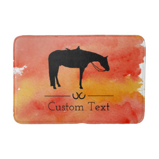Black Western Horse Silhouette on Watercolor Bath Mat