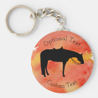 Black Western Horse Silhouette on Watercolor Key Ring