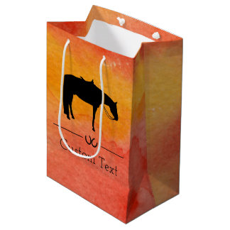 Black Western Horse Silhouette on Watercolor Medium Gift Bag