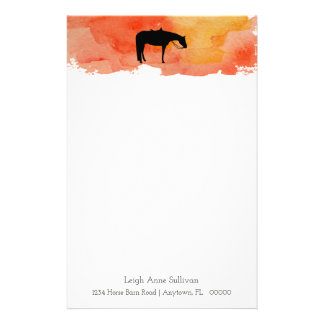 Black Western Horse Silhouette on Watercolor Stationery
