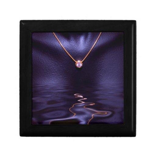 Black Wet Diamond Liquid Gold Necklace Gift Box