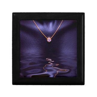 Black Wet Diamond Liquid Gold Necklace Small Square Gift Box