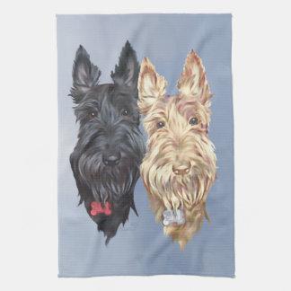 Black & Wheaten Scottish Terriers Tea Towel