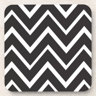 Black whimsical zig zags zigzag chevron pattern coaster