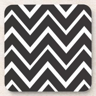 Black whimsical zig zags zigzag chevron pattern coasters