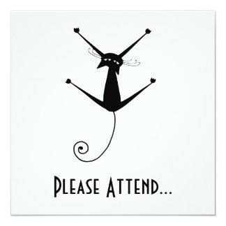 Black Whimsy Kitty 10 13 Cm X 13 Cm Square Invitation Card