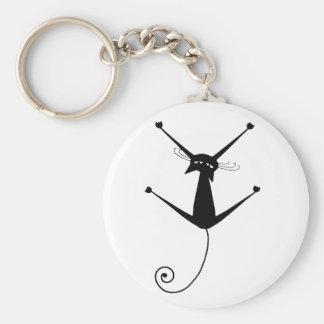 Black Whimsy Kitty 10 Key Ring