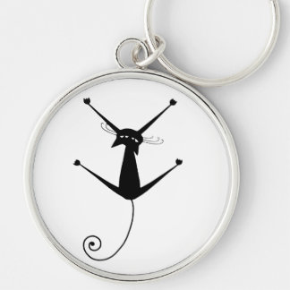 Black Whimsy Kitty 10 Silver-Colored Round Key Ring