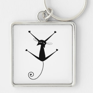 Black Whimsy Kitty 10 Silver-Colored Square Key Ring