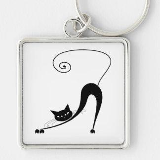 Black Whimsy Kitty 2 Key Chain