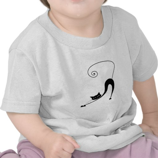 Black Whimsy Kitty 2 T Shirt