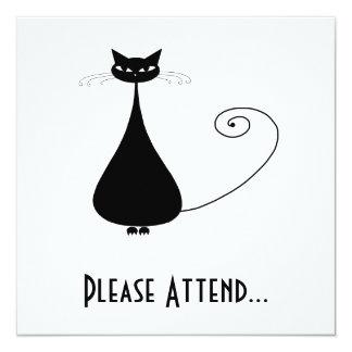 Black Whimsy Kitty 4 13 Cm X 13 Cm Square Invitation Card