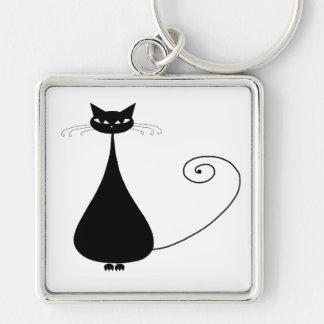 Black Whimsy Kitty 4 Keychains