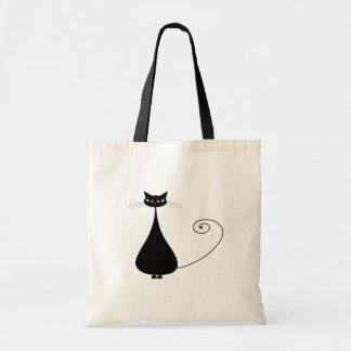 Black Whimsy Kitty 4 Budget Tote Bag