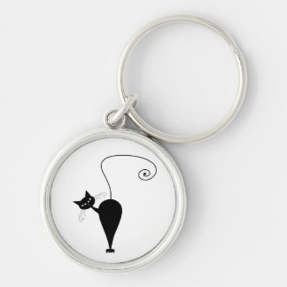 Black Whimsy Kitty 5 Silver-Colored Round Key Ring