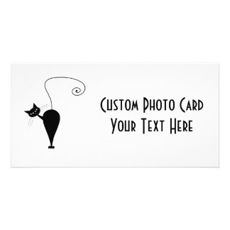 Black Whimsy Kitty 5 Customized Photo Card