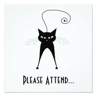Black Whimsy Kitty 6 Custom Invitations