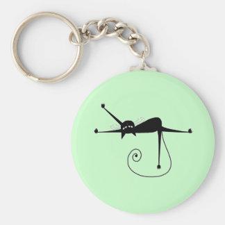 Black Whimsy Kitty 7 Basic Round Button Key Ring