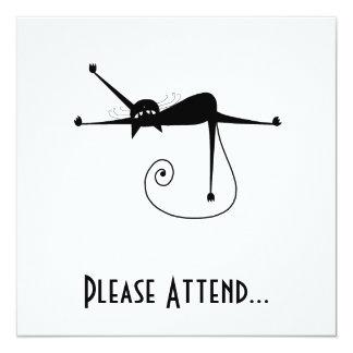 Black Whimsy Kitty 7 13 Cm X 13 Cm Square Invitation Card