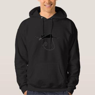 Black Whimsy Kitty 8 Hooded Sweatshirt